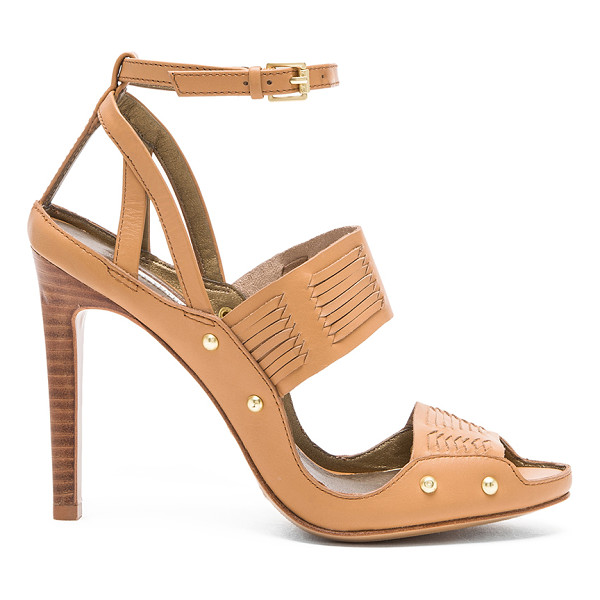 "TWELFTH ST. BY CYNTHIA VINCENT Jigsaw heel - Leather upper and sole. Heel measures approx 4"""" H. Woven..."
