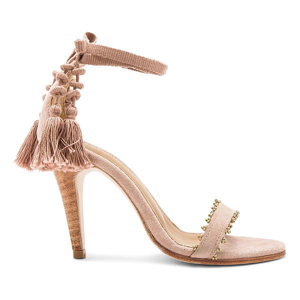 "ULLA JOHNSON ""Dani 4"""" High Heel"" - Suede upper with leather sole. Wrap ankle with fringed"
