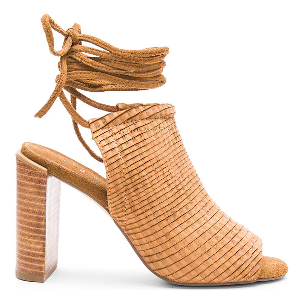 URGE Eve heel - Suede upper with man made sole. Wrap ankle with tie...