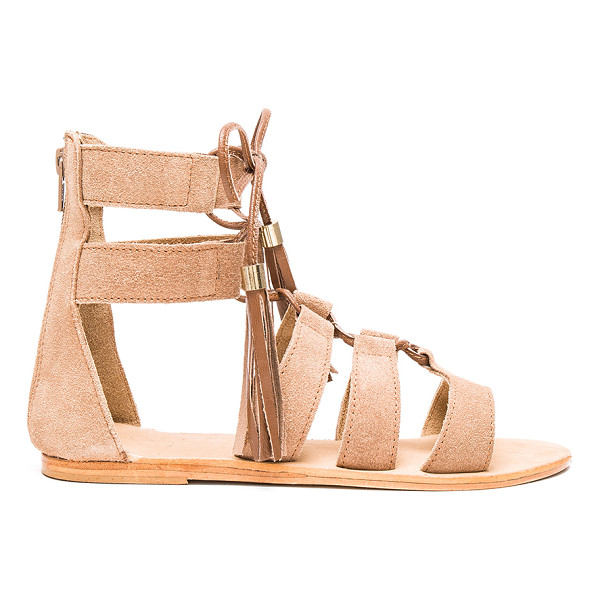 URGE Penny sandals - Suede upper with leather sole. Lace-up front with fringe...