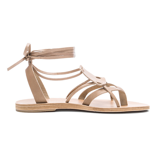 VALIA GABRIEL Chloe Sandal - Leather upper and sole. Wrap ankle with tie closure. Rubber...