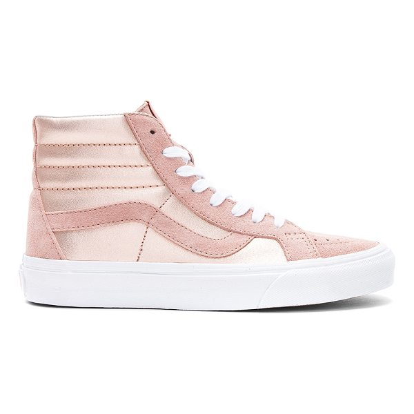 VANS 2-Tone Metallic Sk8-Hi Reissue Sneaker - Metallic leather and suede upper with rubber sole. Lace-up...