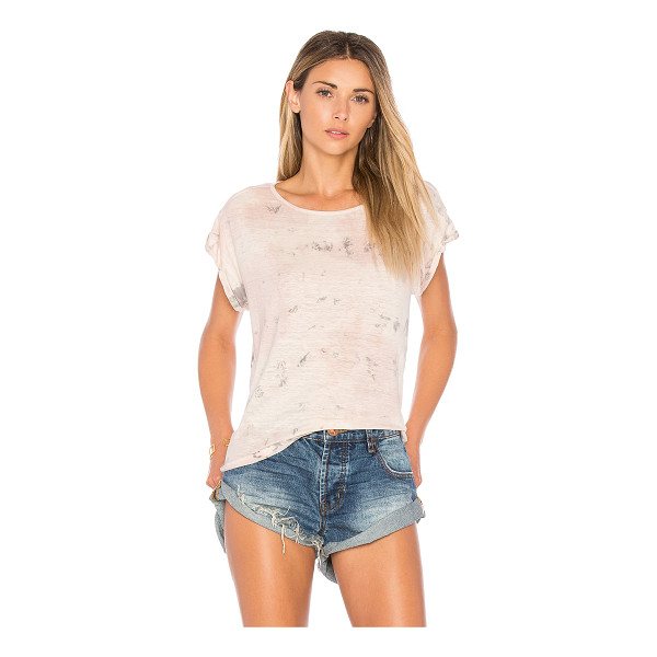 VELVET BY GRAHAM & SPENCER X Kristy Hume Orchid Tee - 97% linen 3% elastane. Slub knit fabric. Cuffed sleeves....