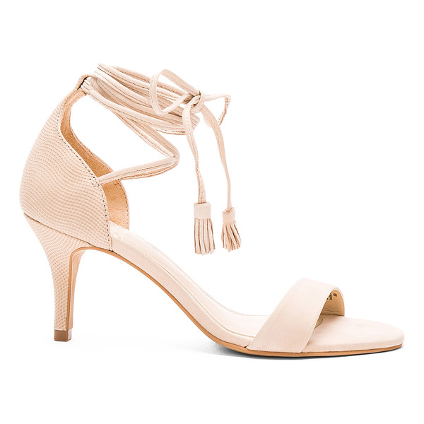 VINCE CAMUTO Kathin heel - Leather upper with man made sole. Wrap ankle with fringe...