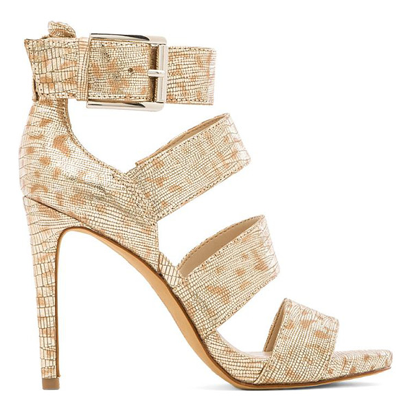 VINCE CAMUTO Rittal heel - Metallic leather upper with man made sole. Heel measures...