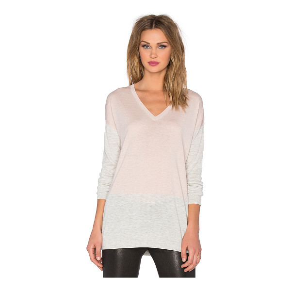 VINCE Colorblock easy fit v-neck sweater - 53% merino wool 25% rayon 22% nylon. Hand wash cold. Rib...