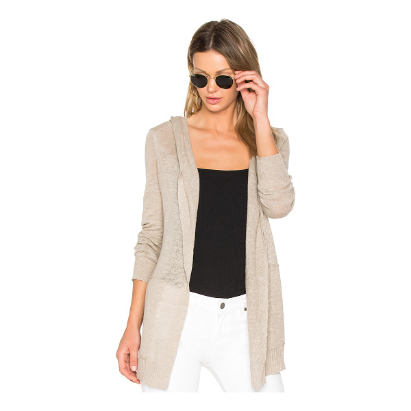 WHITE + WARREN Hooded Cardigan - 80% cotton 20% linen. Open front. Attached hood. Side patch...