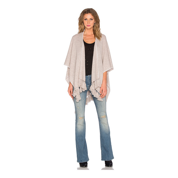 WHITE + WARREN Two way tassel poncho - 100% cashmere. Dry clean only. Tassel fringe trim detail....