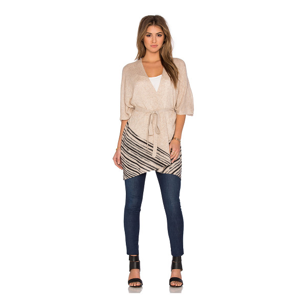 WHITE + WARREN Watercolor stripe poncho - 100% cashmere. Dry clean only. Open front. Belted waist....