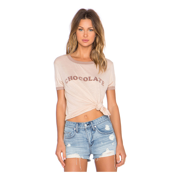 WILDFOX Chocolate tee - 50% cotton 50% poly. Contrast trim. Front graphic....