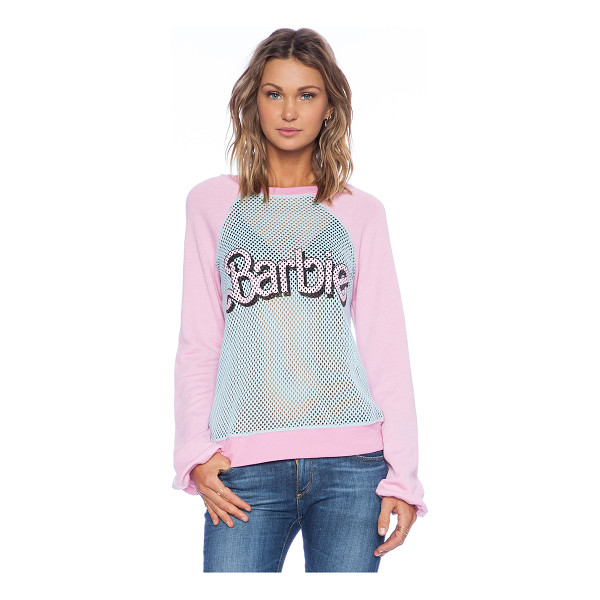 WILDFOX Foxercise barbie sweatshirt - Cotton blend. Sheer mesh fabric. WILD-WO189. WMS589Y63....