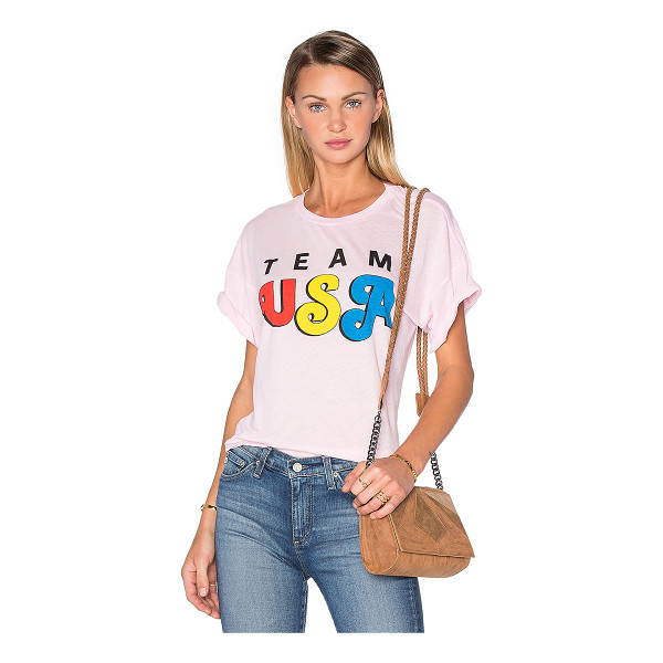 WILDFOX Team USA Tee - 50% poly 50% cotton. Front graphic print. WILD-WS903....