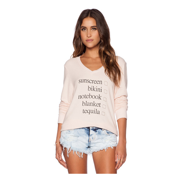 WILDFOX Weekend trip pullover - 47% rayon 47% poly 6% spandex. Hand wash cold. Front...