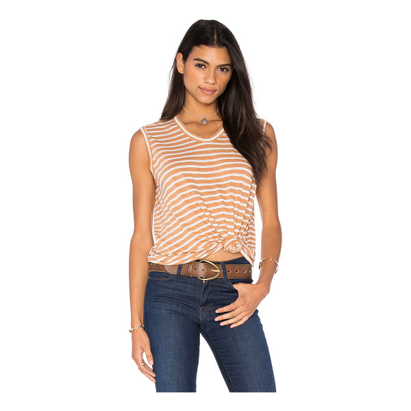 WILT Shadow Stripe Muscle Tank - 72% linen 28% poly. Slub jersey knit fabric. WILT-WS857....
