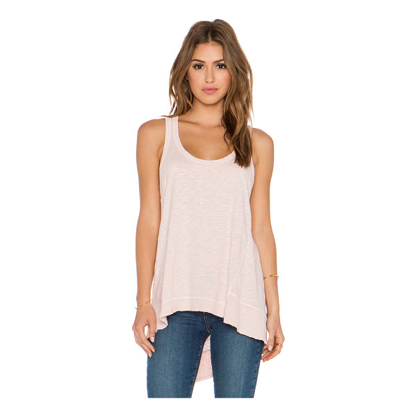 WILT Slub baby back slant tank - 100% cotton. Rib knit edges. Slub fabric. Asymmetrical hem....