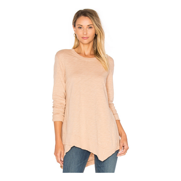 WILT Slub Easy Crew Top - 100% cotton. Slub knit fabric. Asymmetrical hem. Ribbed...