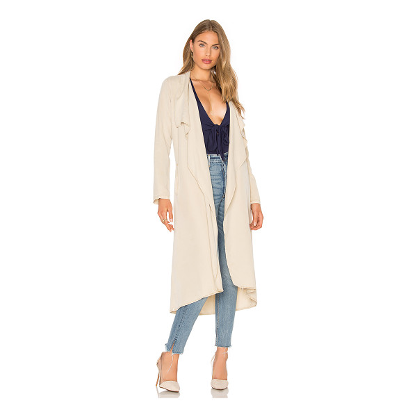 YFB CLOTHING Chicago Coat - 100% tencel. Open draped front. Double welt pockets....