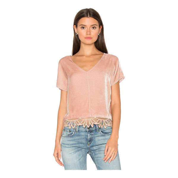 YORK STREET Cropped Top - 82% rayon 18% silk. Dry clean only. Contrast lace trim hem....
