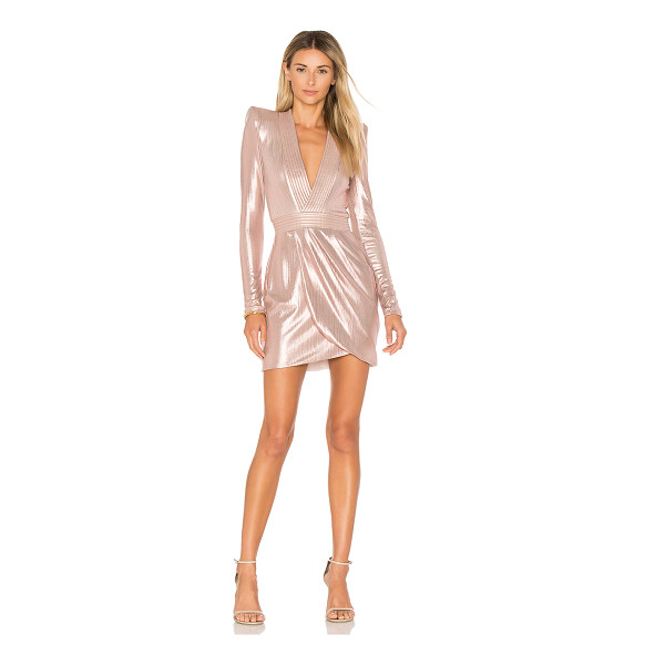 ZHIVAGO Eye Of Horus Metallic Mini Dress - Poly blend. Hand wash cold. Fully lined. Padded shoulders....