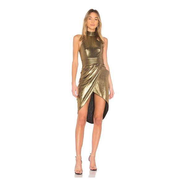 ZHIVAGO Miracle Metallic Dress - Poly blend. Hand wash cold. Fully lined. Surplice skirt....