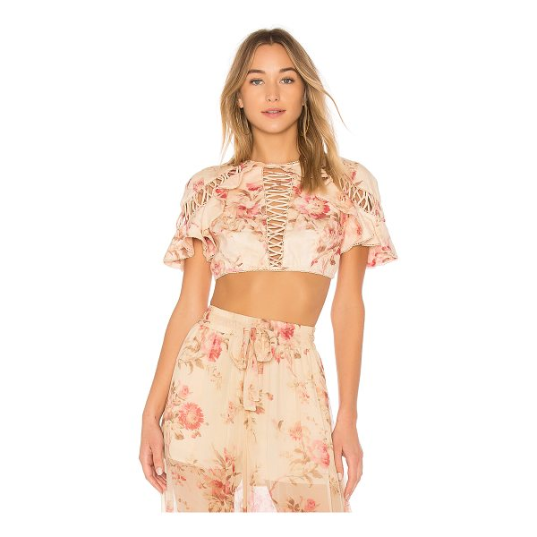ZIMMERMANN Corsair Flutter Lace Up Top - Girlish, romantic blooms form Zimmermann's Corsair Flutter...