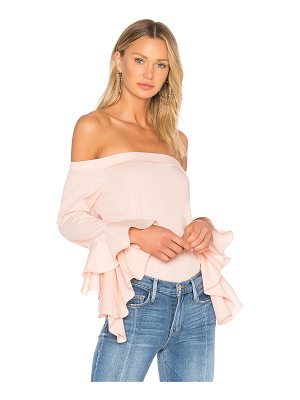 1. STATE Off Shoulder Cascade Sleeve Top