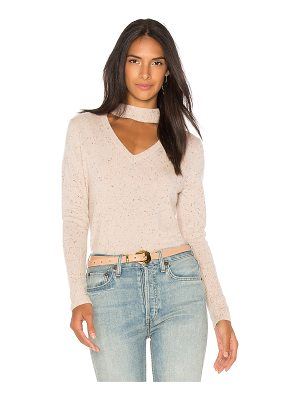 525 America Cashmere Donegal Tweed Choker Sweater