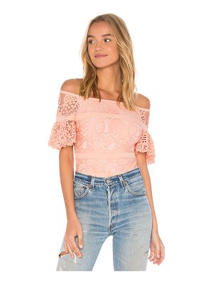 aijek Mae Lace Off the Shoulder Bodysuit