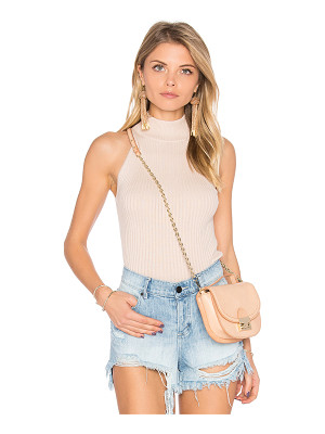 Autumn Cashmere Rib Mock Neck Halter Sweater
