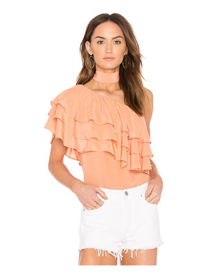 Endless Rose One Shoulder Ruffle Overlay Top