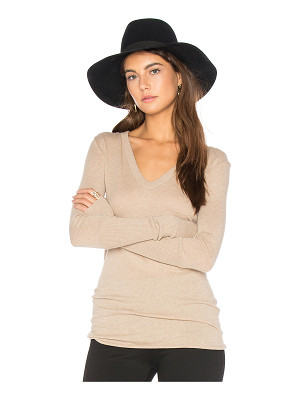 Enza Costa Rib Cuff V Neck Long Sleeve Tee