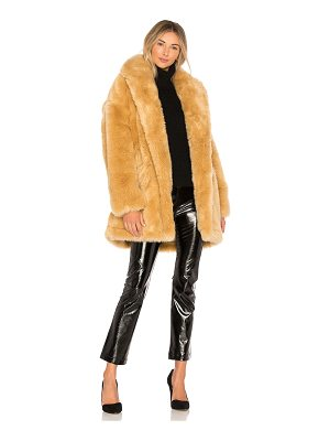 Halston Double Breast Faux Fur Coat