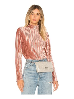 J.O.A. Mock Neck Pleated Top
