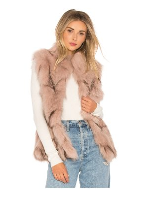 JOCELYN Fox Fur Sections Vest With Collar