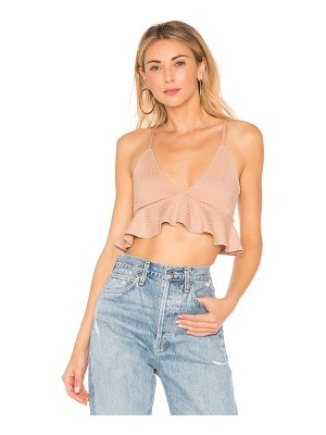 RACHEL PALLY Rib Plunge Neck Ruffle Top