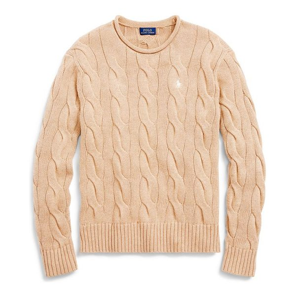 RALPH LAUREN boxy cable cotton sweater - Boxy fit. Intended to hit at the hip. Size medium has a...