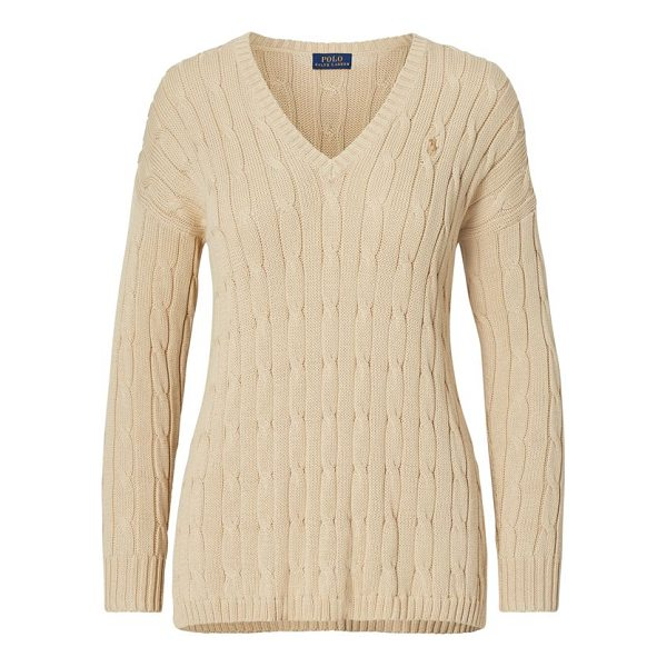 "RALPH LAUREN cable-knit side-slit sweater - Relaxed fit. Size medium has a 25½"" body length a..."