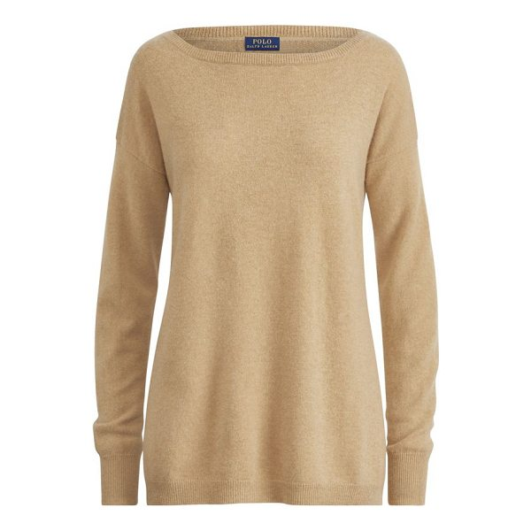 RALPH LAUREN cashmere boatneck sweater - Relaxed fit. Intended to hit at the hip. Size medium has a...
