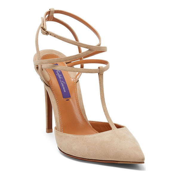 RALPH LAUREN ceil suede pump - A pointed toe and a wrap-around ankle strap define this