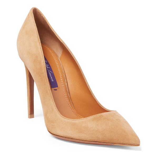 RALPH LAUREN celia suede pump - Artisans in Italy constructed this elegant pump from...