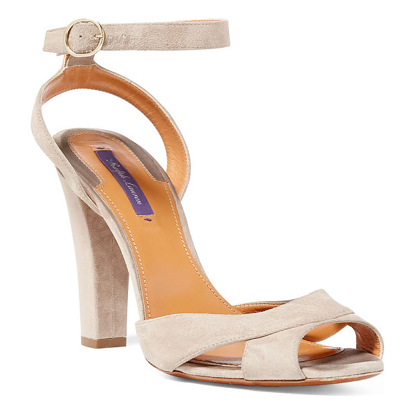 RALPH LAUREN lacole suede sandal - Subtle cutouts at the toe, richly textured suede, and a...