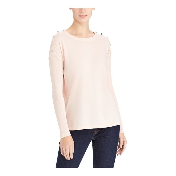 RALPH LAUREN lauren button-trim cotton top - LRL-debossed buttons polish off this ultrasoft cotton-blend...