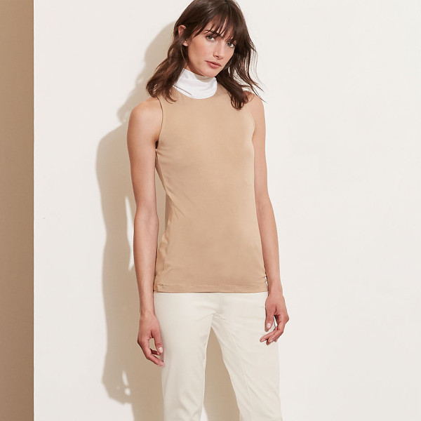 RALPH LAUREN lauren contrast-neckline jersey top - Make a chic entrance-and exit-with this stretch jersey top,...