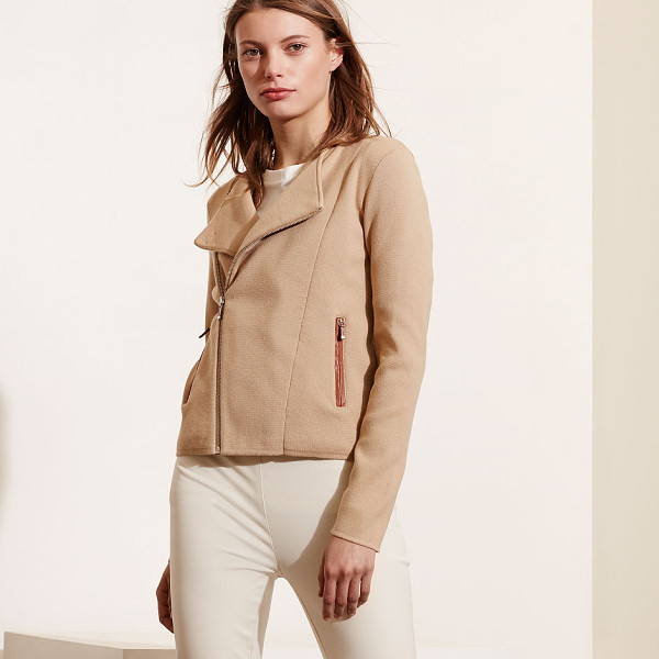 RALPH LAUREN lauren cotton-blend moto sweater - Moto-inspired styling meets faux-leather accents in this...