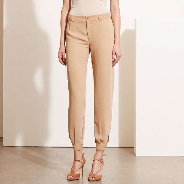 RALPH LAUREN lauren crepe tapered-leg pant - With fluid lines that softly curve at the buttoned cuffs,...
