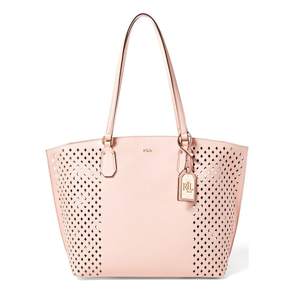 RALPH LAUREN lauren diamond-perforated tanner tote - Allover cutouts give this structured faux-leather tote a