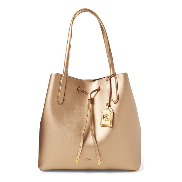 RALPH LAUREN lauren leather diana drawstring tote - An easy, soft silhouette and a removable pouch make this