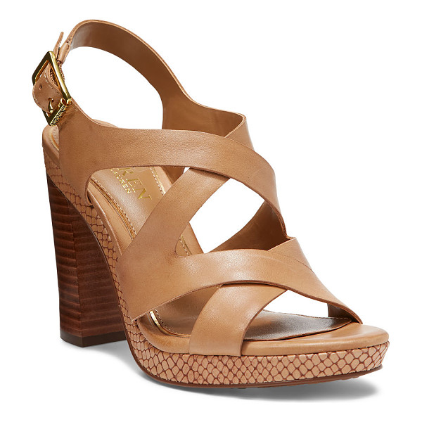 RALPH LAUREN lauren fabia leather sandal - Snake-embossed trim adds subtle texture to this strappy...