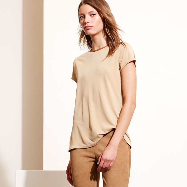 RALPH LAUREN lauren faux leathertrim jersey tee - Sleek faux-leather trim at the neckline and a half-zip back...