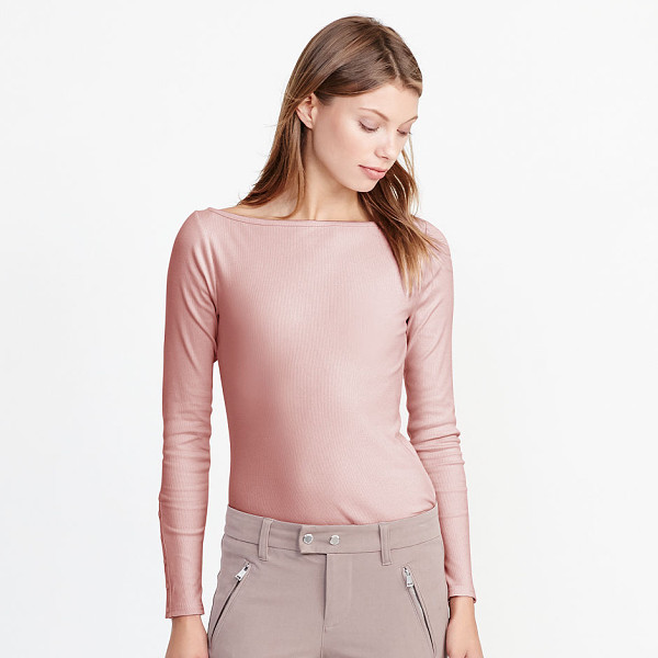 RALPH LAUREN lauren jersey boatneck top - Buttoned cuffs enhance the chic style of this stretch...